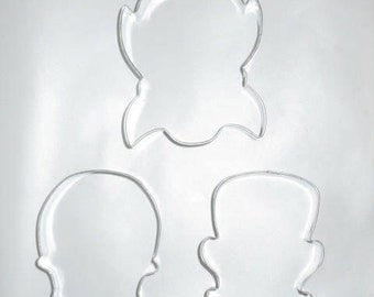 Halloween trio cookie cutter set,  Dracula cookie cutter,Frankenstein,  Skull cookie cutter, sugar skull cookie cutter,  Day of the Dead