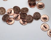 Reserved Listing:  Antiqued Copper Bamboo Button Ring