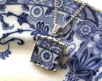Broken china jewelry, necklace pendant, antique aesthetic Victorian Flow Blue transferware, recycled china