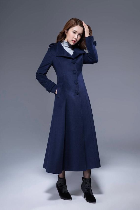 woman wool coat navy coat warm jacket dress coat elegant
