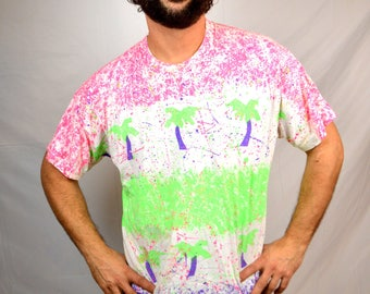 Vintage 80s 1980s Neon Palm Tree Paint Splatter Tee Shirt