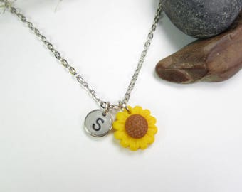 sunflower necklace, Initial necklace, personalized necklace, sunflower jewelry, cute unique gift, letter necklace, polymer clay, flower cute
