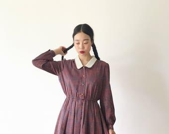 Marsala, Japanese vintage dress, medium - large