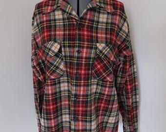1950s Vintage Men's Wool Plaid Shirt - Congress Sportswear Chest 46