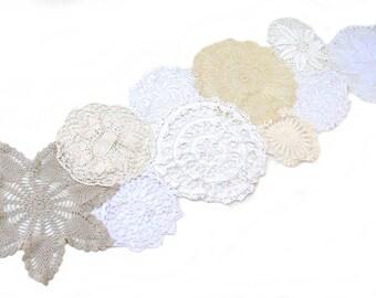Handmade Upcycled Crochet Lace Doily Table Runner/Shabby Chic/Wedding/Farmhouse Decor/Bohemian Chic