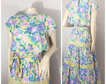 Jane Schaffhausen Belle France Floral Dress // Vintage Rayon Brightly Colored Floral Dress