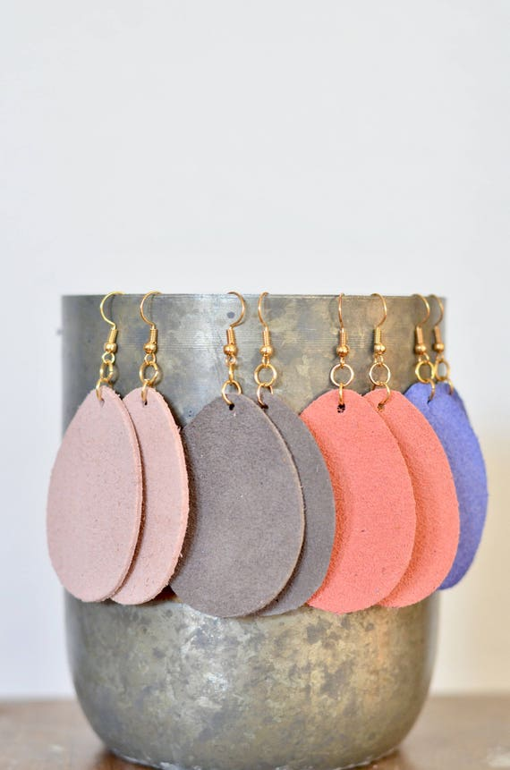 Large Leather Teardrop Earrings, genuine sueded leather essential oil diffuser earrings in blush, coral, grey & periwinkle, gold-look wires