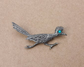 Roadrunner with Turquoise Color Eye Brooch Pin By J. Ritter