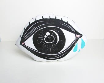 Crying Eye Shaped Pillow. It's Ok To Cry. Eyeball. Hand Woodblock Printed. Ready to Ship.