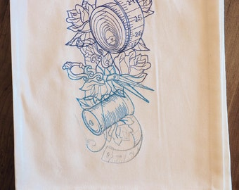 Sewing Goddess Crafty Spirit Tattoo-Style Design Kitchen Towel Proceeds To Charity