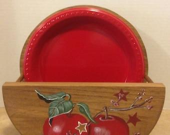 Paper Plate Holder, Apple Decor, Apple Kitchen Decor, Apple Kitchen, Country Decor, Red Apple Decor, Hand Painted Apples, Holder for plates