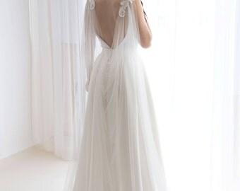 Cape veil with lace - Bridal cape veil - Wedding cape veil - Modern veil - Shoulder cape