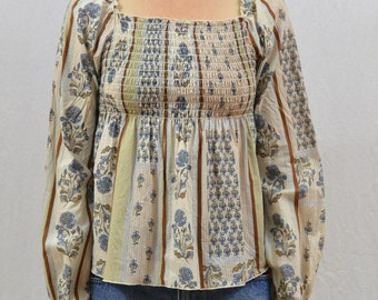 Vintage Peasant Shirt, Size XXS, 90's Does 70's, Hippie, Festival Clothing, Tumblr Clothes, Babydoll Top