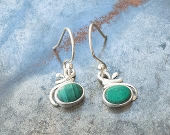 Malachite Green Stone Earrings, Small Sterling Silver Green Dangle Everyday Earrings, Dainty Malachite Jewelry, Natural Malachite Earrings