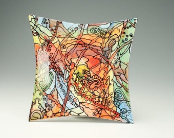 "Crazy Creek Plate / Platter, Ceramic Modern Art Dinnerware - 10"" Square Colorful Wall Decor"