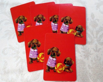 8 Adorable Puppy with Ball Mini Vintage Playing Cards