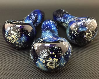 Sale // Galaxy Glass Pipe - Cobalt // MADE TO ORDER // Hand Blown Mystery Space Spoon