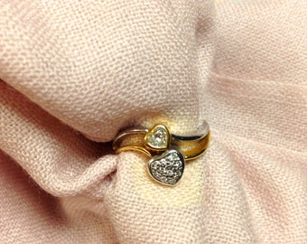 July Sale. Vintage 20k Gold Ring. Diamond Ring. White Yellow Gold. Double Hearts. US Size 6.75.