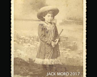 1880s Cabinet Card Photo - Little Sharpshooter Cowgirl