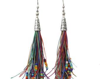 Beaded Tassel Earrings Long Bohemian Style in Multicolored Tones with Hypoallergenic Ear Wires