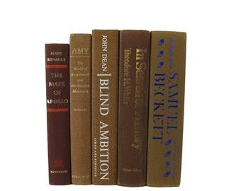 Brown Decorative Books , Farmhouse Wedding Decor, Vintage Photo Props Wedding Decor , Blue Brown Vintage Books ,   Home Decor , Old Books