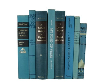 Vintage Books, Blue Books,  Old Decorative Books ,  Book Set , Photo Props ,  Wedding Book Decor, Book Lover Set, Book Gift, Books for Cheap