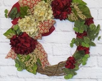 Hydrangea Wreath, Red Hydrangea Wreath, Summer Wreath, Fall Wreath, Summer Decor, Fall Decor, Any Season Wreath