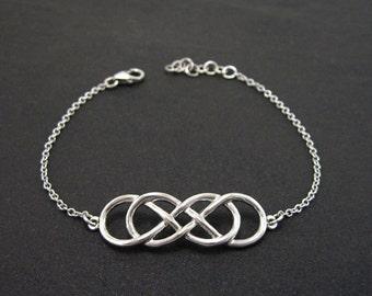 Rose Gold Infinity bracelet, Friendship bracelet, Gift for Her, Double knot bracelet, Bridesmaid bracelet, Gold double infinity bracelet