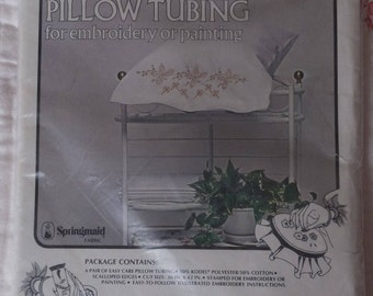 Vintage Vogart Ready to Embroider Pillow Tubing Pair Fall Floral Pillowcases