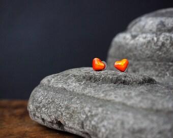 Little Illustrated orange Chevron heart ear studs