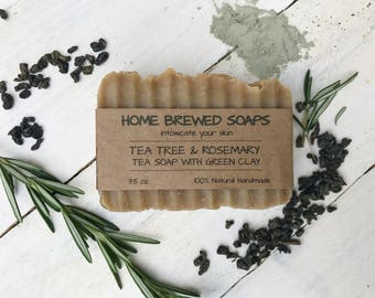 Tea Soap - Green Tea Soap - Homemade Soap - Facial Soap - Natural Facial Soap - Artisan Soap - Tea Tree Soap Bar - Handcrafted Soap - Acne