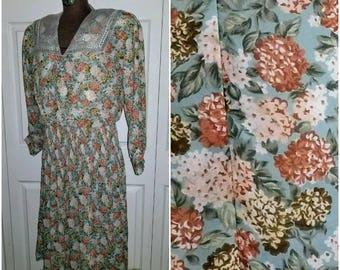 Tess ... vintage 80s floral dress / romantic 20s 30s style  / garden tea party / Edwardian Gatsby Downton Abbey Boardwalk Empire..  M
