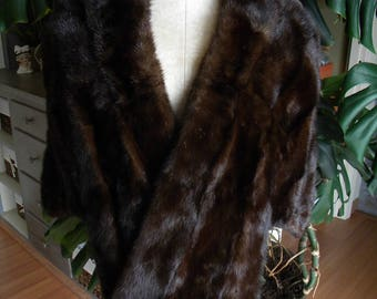 Beautiful dark mink fur stole / cape / wrap / shrug / wedding