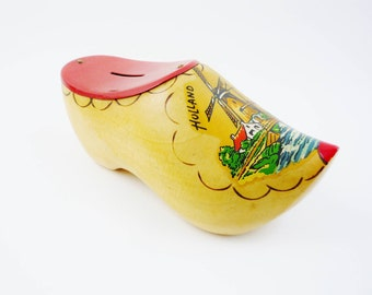 Vintage Money Bank Wooden Clog Souvenir from Holland