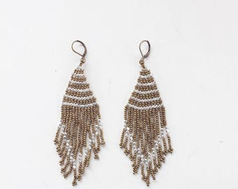Tropical Days Beaded Tassel Earrings || Bronze & Silver Beaded Earrings, Beaded Earrings, Bohemian Earrings, Long Earrings
