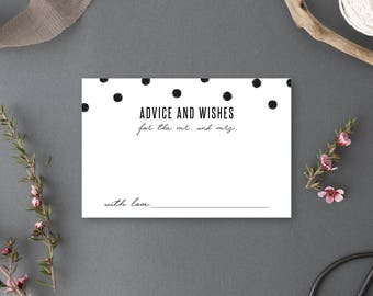 Instant Download - Advice and Wishes for the Mr. and Mrs. Card - Chelsea Collection