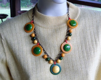 Bakelite Jewelry Bakelite Necklace Upcycled Bakelite OOAK Upcycled Vintage Bakelite Necklace in Green Yellow and Gold Upcycled Jewelry