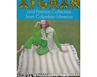 Vintage 1970 Afghan Knitting Patterns Retro Boho Mod Dresses Vests Berets Scarves and Sweaters Sizes 10 to 20
