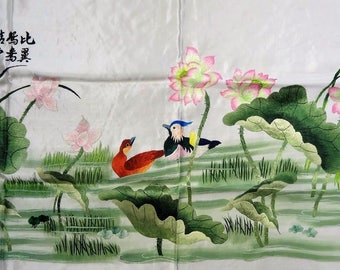 Handwoven Silk Chinese Embroidery - Lotus & Mandarin Duck (106 cm x 46 cm) #2