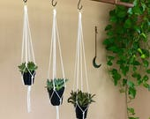 "3 Pack - Macrame Plant Hanger - 20"" Simple - Natural White Cotton Rope - Hanging Planter - Boho Home, Nursery, Wedding Decor - MADE TO ORDER"