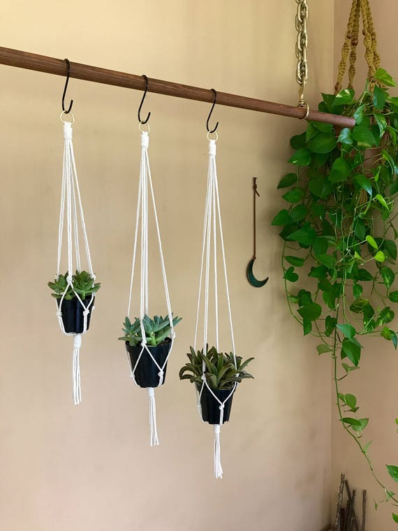 "Macrame Plant Hangers - 20"" Simple - 3 Pack"