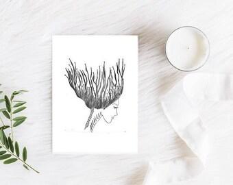 Mini Illustration Print 5x7 - Framed or Unframed