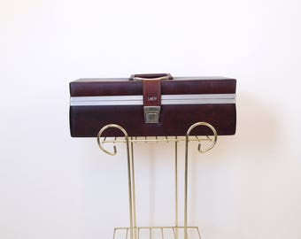 Vintage 70s Burgandy Vinyl eight 8 track cartridge cassette tape holder storage music case savoy tote storage bin