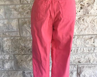 90's Gitano Jeans VIntage Pink Pink Denim Pants Size 7 Coral Mom Jeans High Waisted Denim with Tapered Leg 90s Jeans