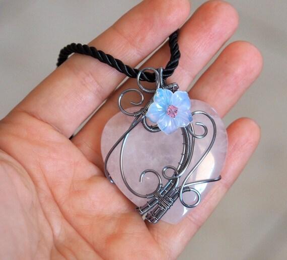 Rose quartz heart pendant with Opalite flower