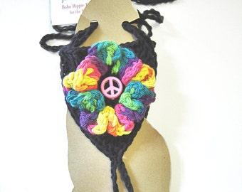 Black Peace Flower Barefoot Sandals in Crochet by VLA Designs - Cotton Jewelry, Foot Thong, Bohemian Hippy Footwear