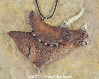 Dinosaur Portrait Necklace - Triceratops - IN STOCK and Ready to Ship