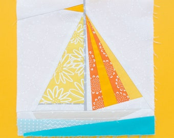 Sailboat Paper piecing pattern - Quilt block pattern