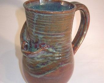 Handmade Ceramic Blue and Purple Wake N Bake Mug