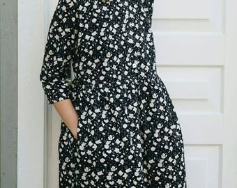 Floral Print Dress - Cotton Poplin Dress - Black and White Floral Dress - Vintage Dress - Handmade by OFFON